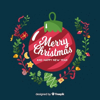 Christmas ball background with flowers in flat design