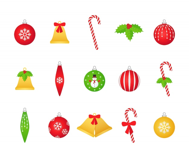 Christmas ball, bell, holly, candy cane set,
