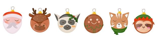 クリスマスボール飾りフラット