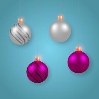 白とダークスタイルのクリスマスボールの装飾