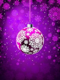 Christmas ball on falling flakes template.