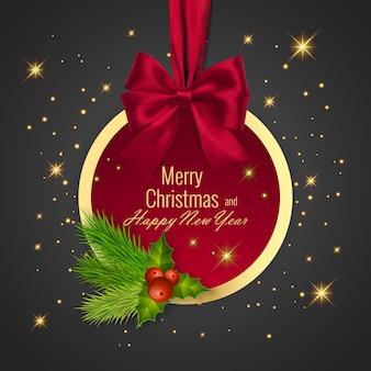 クリスマスボール、ホリデーラウンドフレーム。明けましておめでとうございます赤いリボンと弓のバナー