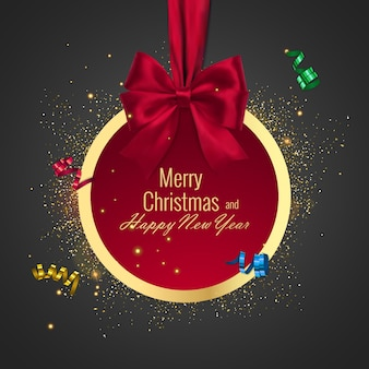 Christmas ball, holiday round frame. banner with red ribbon and bow for happy new year