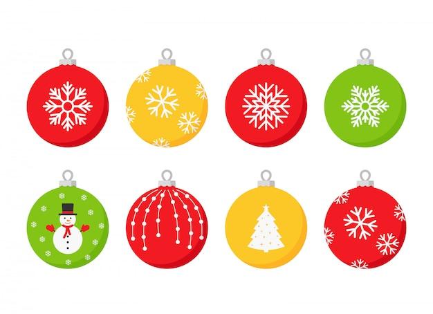 フラットなデザインでクリスマスボールのアイコンを設定します。