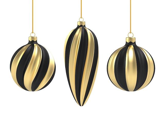 白い背景の上の現実的なスタイルのクリスマスボール。黒と金の垂直スパイラル。