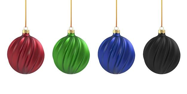 Елочный шар в реалистичном стиле на белом фоне. черная, синяя, красная и зеленая вертикальная спираль.