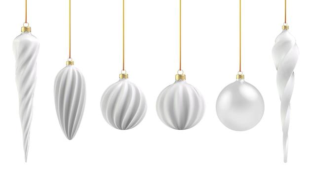 白い背景の上の現実的なスタイルのクリスマスボール。白い垂直スパイラル。