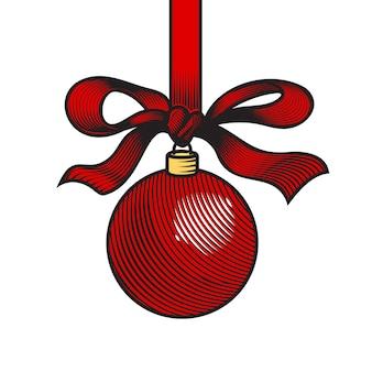 クリスマスボールラインアートのロゴやアイコン。ベクトルイラスト。