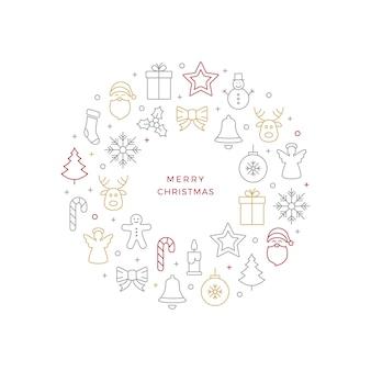 Рождественский бал значок линии белый фон