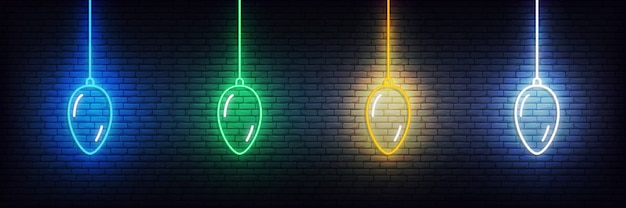 Christmas ball neon elements. set of realistic colorful xmas decorations glowing sign