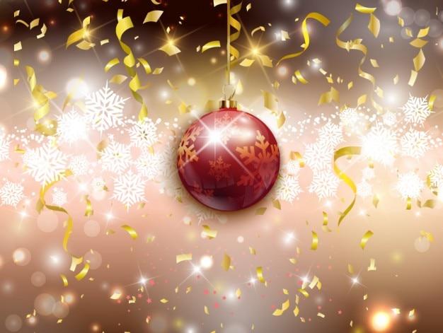 お祝いの背景にクリスマスボール