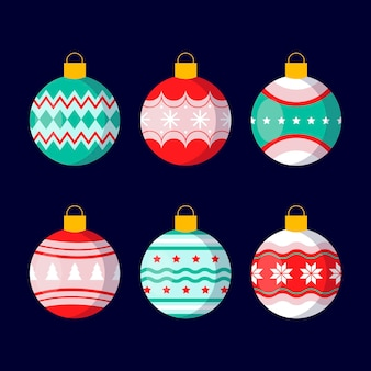 Christmas ball ornaments in flat design