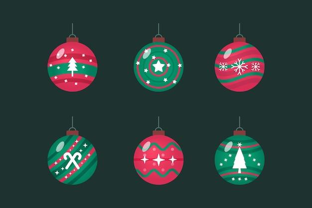 Ornamenti di palla di natale in design piatto