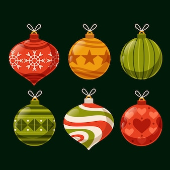 Christmas ball ornaments flat design