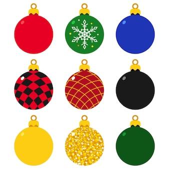 흰색 배경에 고립 된 나무 벡터 만화 세트에 대 한 크리스마스 공 장식품.