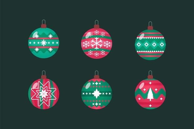 평면 디자인에 크리스마스 볼 장식품