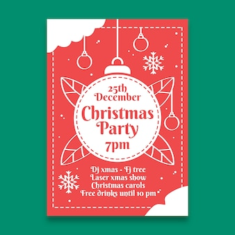 Christmas ball poster template in outline style