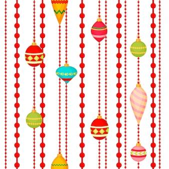 크리스마스 공 원활한 패턴 화려한 겨울 휴가 크리스마스 장식 구 새 해 축제 평면 디자인 벡터 일러스트 레이 션. 축제 값싼 물건 섬유 포장 인사말 장식입니다.