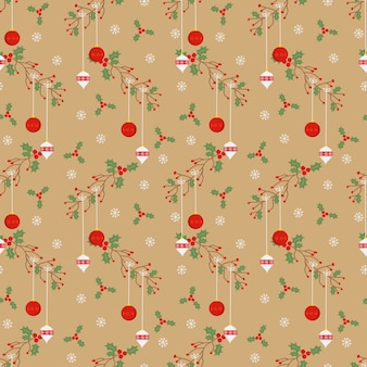 Christmas ball seamless pattern in vintage style