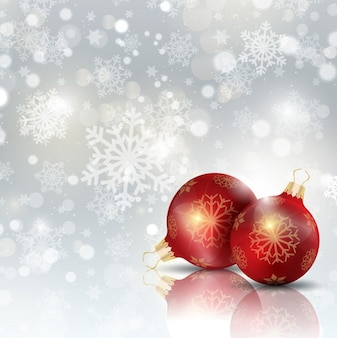 Christmas ball on a snowflakes background
