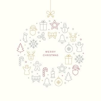 Рождественский шарик тонкой линии иконки