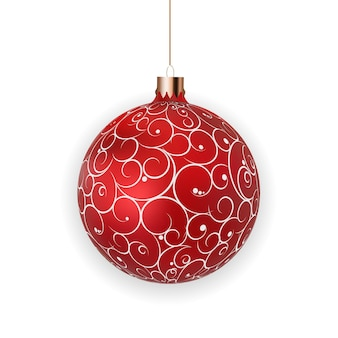 Christmas ball with ball and ribbon on white background vector illustration eps10