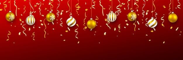 紙吹雪とクリスマスボール
