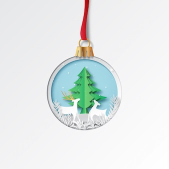Christmas ball with deer and tree