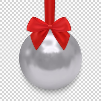 Christmas ball with ribbon and a bow, isolated
