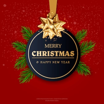 Christmas ball with ribbon and a bow. merry christmas and happy new year. vector illustration.