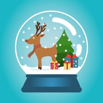 눈, 재미있는 사슴 및 크리스마스 트리 크리스마스 공. 선물 상자와 스노우 글로브입니다. 겨울 크리스마스 일러스트입니다.