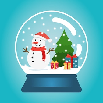 Christmas ball with snow, snowman and a christmas tree. snow globe with gift boxes. winter christmas  illustration.