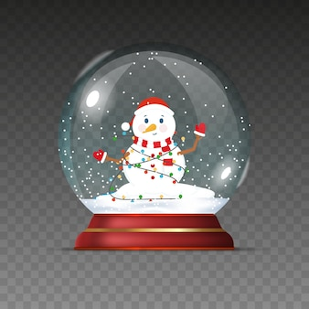 Christmas ball with snowman. new year transparent ball isolated on a transparent background.