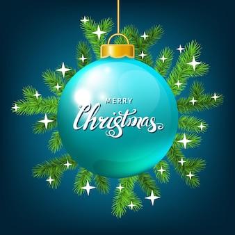 Елочный шар с еловой веткой, белыми звездами и буквами на синем фоне. зеленая ель. векторный шаблон для рождественских открыток, баннеров, листовок, новогодних плакатов.