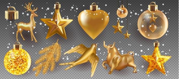 Рождественские шары и игрушки набор, изолированные на прозрачном фоне. праздничная новогодняя игрушка для елки. иллюстрация.