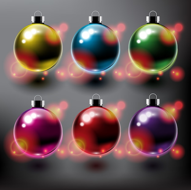 Christmas balls collection christmas ornaments isolated on dark background