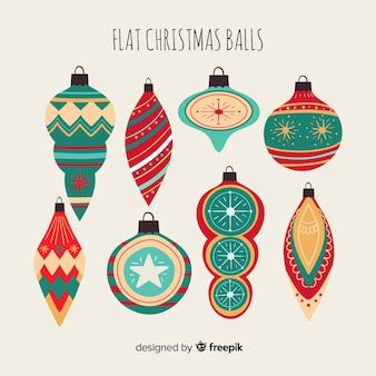 Christmas balls collection different shapes