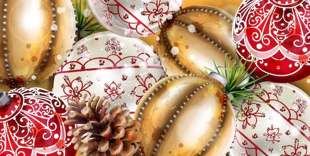 Christmas balls decoration banner