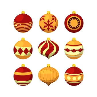 Christmas balls in flat design
