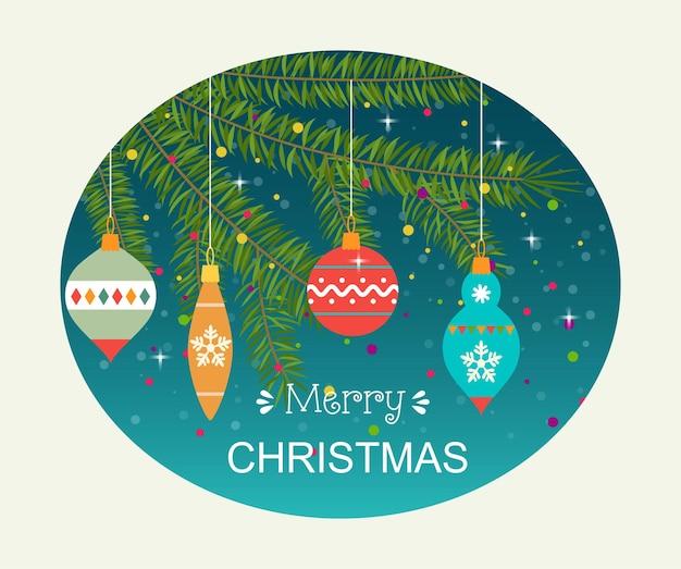 クリスマスツリーの枝にぶら下がっているクリスマスボール。ベクトルイラスト。