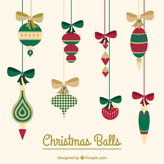 Christmas balls hanging on ropes