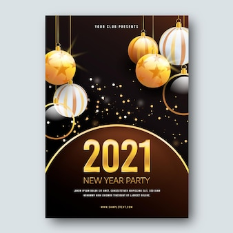Christmas balls new year 2021 poster template