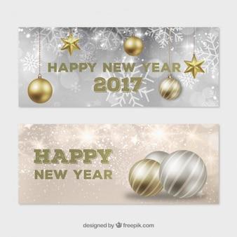 Новогодние шары на серебро и золотой фон баннеры