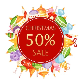 Christmas balls sale 50 discount banner
