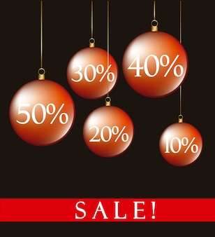 Christmas balls sale over black background vector illustration