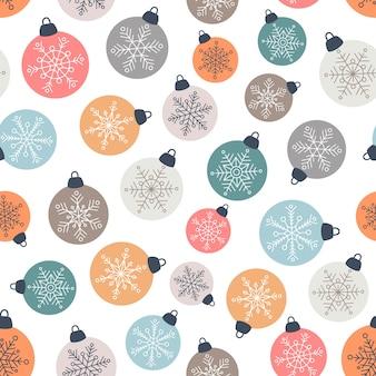 Рождественские шары бесшовные модели в плоском стиле
