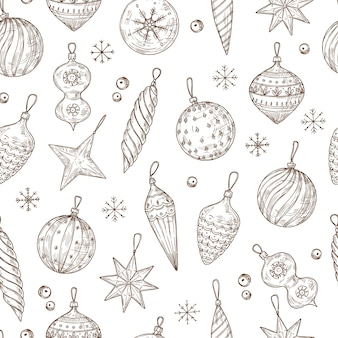 クリスマスボールのシームレスなパターン。クリスマスツリーの装飾と雪片。冬の休日、新年のベクトル手描きのテキスタイルテクスチャ