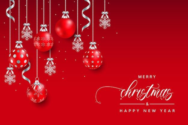 Рождественские шары сезон приветствие красный фон