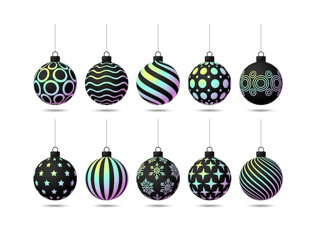 Christmas balls set. collection of realistic holographic christmas balls with different patterns of sequins. vector illustration
