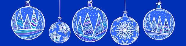 Елочные шары, снежинка орнамент, зимний векторный дизайн